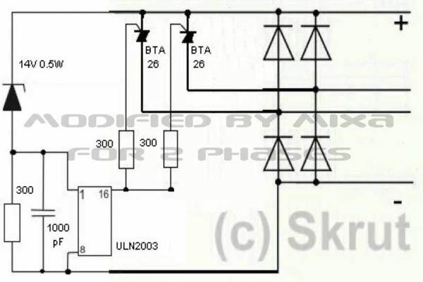 На основе данной схемы можно изготовить 2-фазный выпрямитель- регулятор. Для  этого нужно удалить из схемы несколько элементов. 0a858403d138b